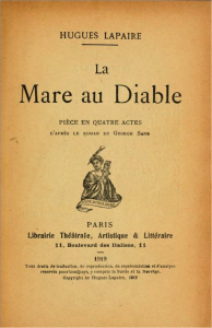 La Mare au Diable, adaptation de Hugues Lapaire